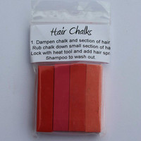 4pc. Hair Chalk Set // Shades of Pink // Red, Fuchsia, Coral Pink and Light Pink