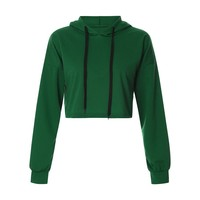 Fashion Hoodies Pullover Women Autumn Winter Hooded Hoodie Female Crop Sweatshirt with Green Coat Tops Clothes sudadera mujer
