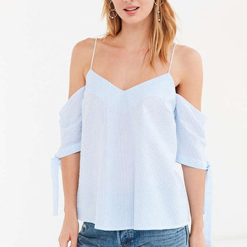 Kimchi Blue Seersucker Cold-Shoulder Tie-Sleeve Top - Urban Outfitters