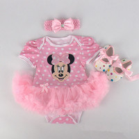 Baby Girls Halloween Costumes Minnie Mouse Romper Dress + Headband + Shoes Clothing Sets Party Clothes Cartoon Free Ship