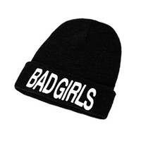 ZLYC Unisex Fashion Embroidery Letter Warm Knit Ribbed Beanie Ski Snowboard Hat Bad Girls
