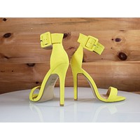 "So Me Stellar Bright Yellow Wide Ankle Strap 4.5"" High Heel Shoe"