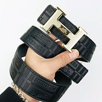 Hermes New fashion pattern leather couple belt Black