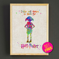 Harry Potter Dobby Quotes Watercolor Art Print Harry Potter Poster House Wear Wall Decor Gift Linen Print - Buy 2 Get 1 FREE - 39s2g