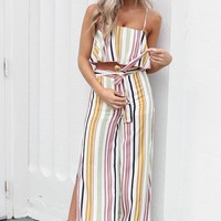 All Talk Multi Color Striped Crop Top and Pants Set