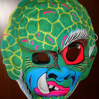 Vintage Snaggletooth Monster Halloween Mask - Ben Cooper / Collegeville type