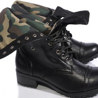 Marco Republic Expedition Womens Military Combat Boots - (Black Camouflage) - 9