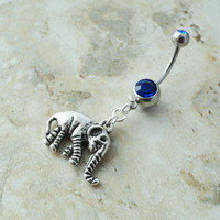Blue Elephant Belly Button Ring Jewelry by CuteBellyRings on Etsy