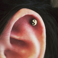 Yin Yang Zen Style Surgical Steel Stud Earring. Perfect for Helix and Cartilage Piercings.