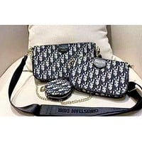 Dior new women's retro full D letter Mahjong bag shoulder bag Messenger bag three-piece
