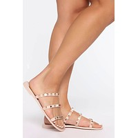 Three Strap Studded Jelly Sandal