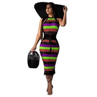 Women Sexy Striped Hollow Out Halter Bandage Dress