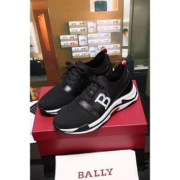 Bally Avro Men's Embossed Calf Trainer In Black Sneakers Shoes - Sale