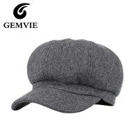 Casual Solid Woolen Berets Boina Octagonal Hats Women Winter Hat Beret Cap Winter British Caps Casquette Gray/Black/Wine red