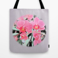 Lovely pink orchid flower color pencil sketch. floral photo art. Tote Bag by NatureMatters