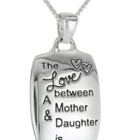Mother/Daughter Engraved Rectangular Pendant Necklace, 18""