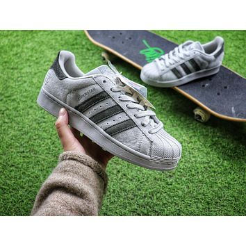 Reigning Champ x Adidas Superstar 3M Grey Suede Sport Shoes Sneaker