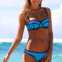 Royal Blue Neoprene Bandage Bikini