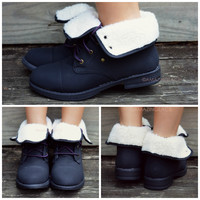 Below Zero Wool Lace Up Black Ankle Boots