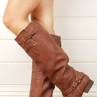 Breckelle's Outlaw11 Rusty Side Buckle Riding Boots and Shop Boots at MakeMeChic.com