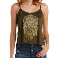 Olive Sparkle Dreamcatcher Graphic Tank Top by Charlotte Russe