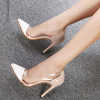 new fashion Women shoes transparent thin pointed Women high heels shoes white shallow mouth wedding shoes Women pumps 1029