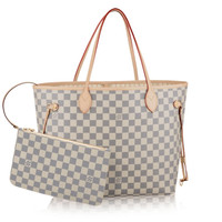 LOUIS VUITTON Damier Neverfull MM N41361 Azur Tote Bag SA2133 Womens Handbag