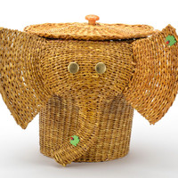 Woven handmade decorative basket with lid Elephant Easter gift ideas decor