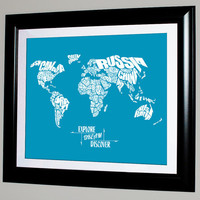 Explore Dream Discover - World Word Map - 8x10