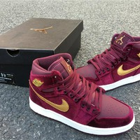 Nike Air Jordan 1 High Retro PRM GS Velvet Heiress Maroon 83259640