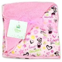Disney Minnie Mouse Sherpa and Mink Printed Blanket, Pink