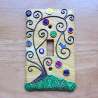 "Polymer Filigree Light Switch Switchplate ""Sunny Skies"" Folk Art Tree in yellow, gold, brown, green and multi"