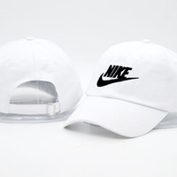 White Nike Authentic Dri-FIT Low Profile Swoosh Front Adjustable Cap
