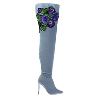 Dedicate14 Over Knee Thigh High Heel Dress Boots w Faux Fur & Embroidery