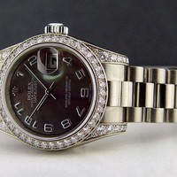 Rolex Lady President Gold Black Mother Pearl Arabic Diamond 179159 - WATCH CHEST
