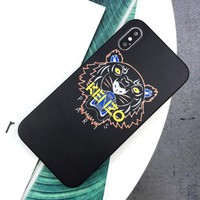 Kenzo New fashion letter tiger couple phone case protective cover Black