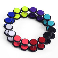 Earring 16PCS New Trendy Cheater Illusion faux fake Ear Plugs Gauges Taper Earring  Unisex Acrylic Body Jewelry