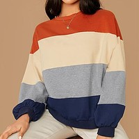 Colorblock Striped Casual Sweatshirts Women Tops Round Neck Bishop Sleeve Multicolor Basic Ldies Sweatshirts