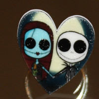 Nightmare Before Christmas Inspired Jack Skellington & Sally Heart Ring Handmade Adjustable