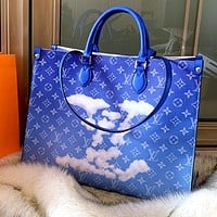 LV 2020 new gradient tie-dye print shopping bag tote bag shoulder bag crossbody bag