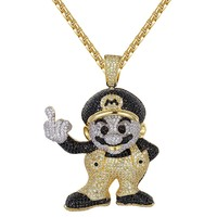 Custom Black &Yellow Cartoon Character Pendant Chain