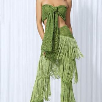 Coast To Coast Green Fringe Lace Strapless Bandeau Two Piece Jumpsuit