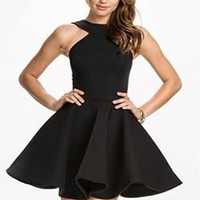 Black Pleated Zipper Backless Off Shoulder Prom Evening Party Skater Cute Mini Dress
