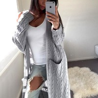 Autumn Winter Fashion Women Long Sleeve Pockets Casual Cotton Knitted Cardigan Sweater Outwear Jacket Coat Tops