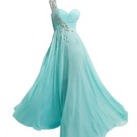 JAEDEN One Shoulder Long Bridesmaid Prom Dresses Chiffon Evening Gowns