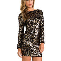 DRESS THE POPULATION Lola Long Sleeve Sequin Dress in Metallic Gold