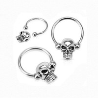 Septum Skull 12g -10g - 8g (1.6mm), 15mm Long - 316l Surgical Stainless Steel Nose Septum Captive Bead Bar Skull
