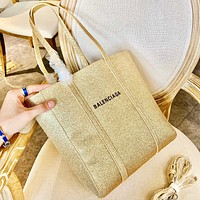 Balenciaga Fashion New Letter Print Shining Shoulder Bag Handbag Golden