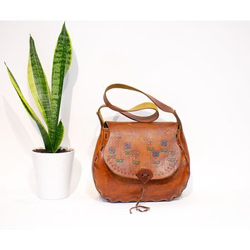 1960s Vintage Saddle Bag Tooled Floral Leather Crossbody Bag