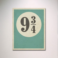 """Typography Poster / Harry Potter Inspired Platform 9 3/4 with Distressed Effect 11"""" x 14"""" Print / Minimalist Wall Art"""